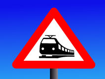 Attention trains crossing Stock Photo