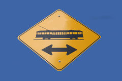 Attention tram crossing. Ahead road sign Stock Images