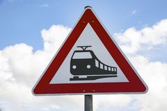 Attention Tram Sign stock photos