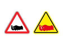 Attention Turkey. Warning sign for Turkish country. Stock Photos