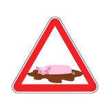 Attention unclean. warning Road sign pig in mud. Caution dirty. Stock Images