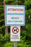 An attention unsupervised beach with no dogs allowed sign.  Stock Photography