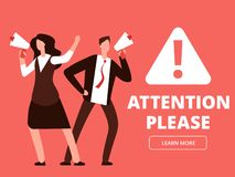 Attention vector banner or web page template with cartoon man and woman with megaphones royalty free illustration