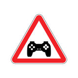 Attention video games. Dangers of red road sign Gamepad. Caution. Joystick. gadget console. videogame accessory royalty free illustration