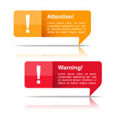 Attention and Warning Banners Stock Images