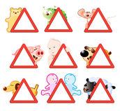Attention - warning signs. Stickers for cars and other vehicles Stock Image
