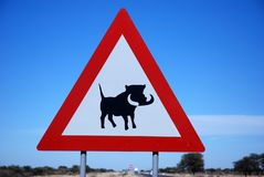 Attention warthogs crossing, road sign in Namibia. Traffic road sign to inform drivers that it is possible that warthogs crossing road stock image