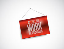 Attention work in progress hanging banner Royalty Free Stock Photo