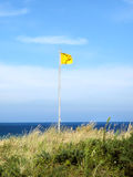 Attention, yellow flag on the beach Royalty Free Stock Photo