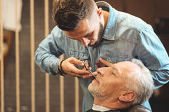 Attentive barber styling beard of the elderly client in barbershop Royalty Free Stock Images