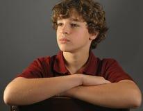 Attentive boy, portrait. Portrait of handsome adolescent boy, looking attentive Royalty Free Stock Photos