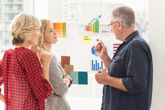 Attentive business team explaining flow charts Royalty Free Stock Photos
