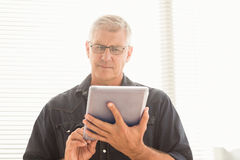 Attentive businessman scrolling on his tablet Royalty Free Stock Photos