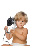 Attentive child with headphones Royalty Free Stock Photo