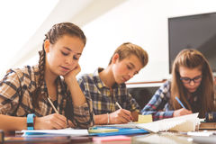 Attentive children at interesting lesson. Concentrated pupils are sitting near desk and absorbedly writing information Royalty Free Stock Photo