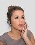 Attentive customer service representative. Speaking to a customer royalty free stock photos