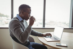Attentive executive drinking coffee while using laptop Royalty Free Stock Photography