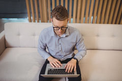 Attentive executive sitting on sofa and using laptop Stock Photography