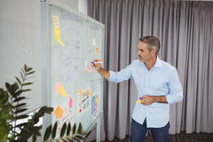 Attentive executive writing on sticky note Stock Photo