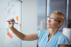 Attentive executive writing on whiteboard Royalty Free Stock Photos