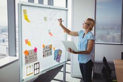 Attentive executive writing on whiteboard Stock Photography