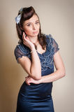 Attentive girl with beautiful hairstyle Royalty Free Stock Images