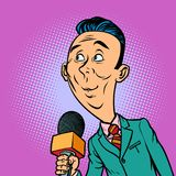 Attentive interested curious reporter correspondent journalist m. Ale. television and radio, Internet broadcasting. Comic book cartoon pop art retro vector Stock Photos
