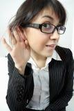 Attentive listener. Woman closeup photo Stock Photo
