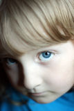 Attentive look. Little girl with big blue eyes looking intently - selective focus for emotional perception Royalty Free Stock Image