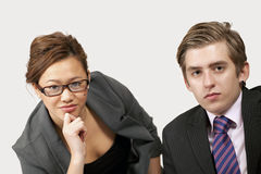 Attentive office workers Royalty Free Stock Images