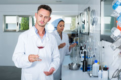 Attentive positive man testing wine qualities. Attentive positive men testing wine qualities in manufactory chemical laboratory Royalty Free Stock Image