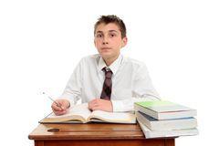 Attentive school student doing work Royalty Free Stock Images