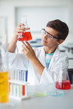 Attentive schoolboy doing a chemical experiment in laboratory. At school Royalty Free Stock Images