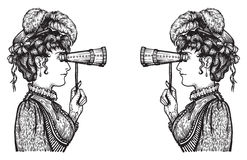 Attentive women. Vector illustration of vintage engraved women looking to each other through binoculars with high attention Stock Illustration
