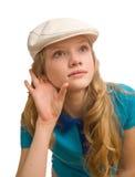 Attenzione di giovane signora bionda Immagine Stock