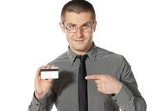 Attenzione di paga a questa carta di credito Fotografia Stock