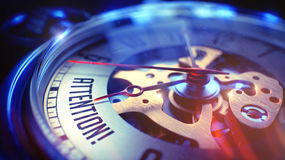 Attenzione - iscrizione sull'orologio da tasca illustrazione 3D Fotografia Stock