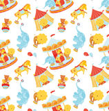 Рattern circus. Circus pattern with animals and carousel and concession stands with balloons Stock Photos