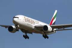Atterraggio degli emirati 777 Fotografie Stock
