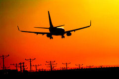 atterraggio di aeroplano Immagini Stock