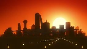 Atterraggio di alba dell'orizzonte di Dallas Texas U.S.A. America archivi video