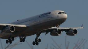 Atterraggio di Lufthansa Airbus A340 all'aeroporto di Narita stock footage