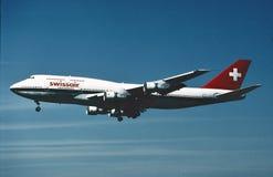 Atterraggio di Swissair Boeing B-747 Los Angeles agosto 1993 Immagine Stock Libera da Diritti