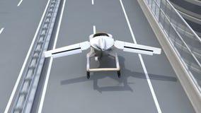Atterraggio futuristico dell'automobile di volo sulla strada principale stock footage