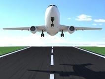 Atterraggio o decollo di aeroplano commerciale illustrazione di stock