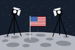Atterrissage américain sur la lune en tant que scène étagée avec la lumière et le drapeau des USA - Etats-Unis d'Amérique et faus illustration stock