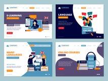 Atterrissage d'éducation Affaires plates de vecteur de caractères de calibre d'ui de wireframe de cours de cours de langues de fo illustration libre de droits