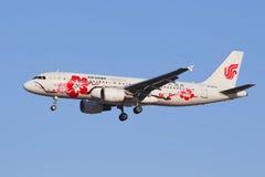 Atterrissage d'Air China B-6610 Airbus A-320-200 à BCIA, Pékin, Chine Images libres de droits