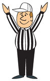 Atterrissage d'arbitre du football de dessin animé Images stock