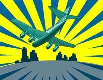 Atterrissage d'avion à réaction Photographie stock libre de droits